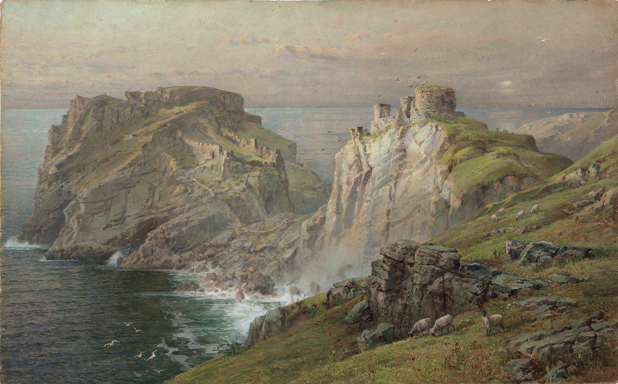 Tintagel Tintagel–miejscowość na zachodnim wybrzeżuKornwalii. Znajduje się tuzamek, wktórym–według legend–urodził siękról Artur. Źródło: William Trost, Tintagel, 1881, akwarela, domena publiczna.