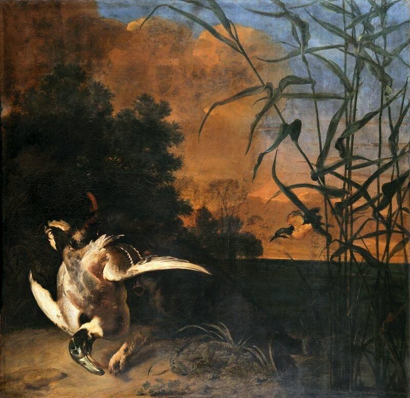 Polowanie na kaczki Źródło: Daniel Schultz, Polowanie na kaczki, 1658, olej na płótnie, Muzeum Narodowe wGdańsku, domena publiczna.