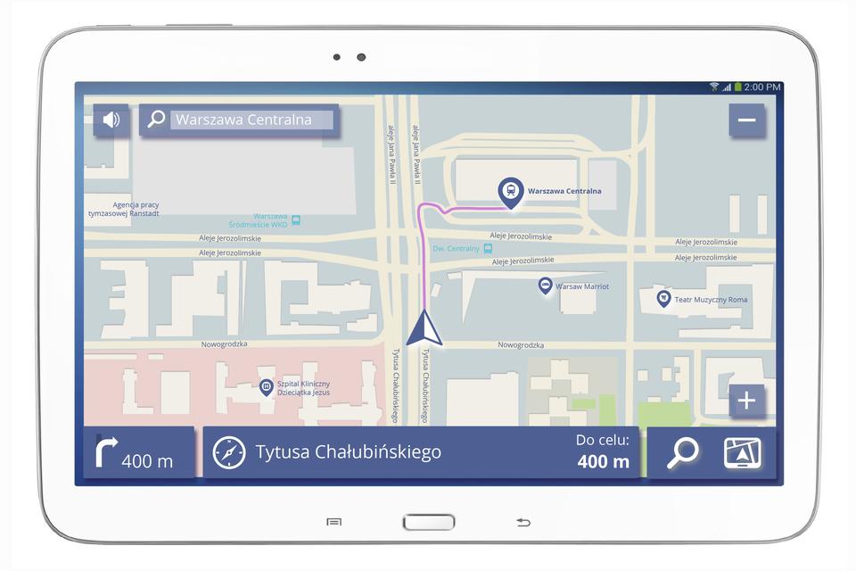 Zdjęcie przedstawiające odbiornik GPS znawigacją, na którym wyświetlona jest mapa centrum Warszawy.