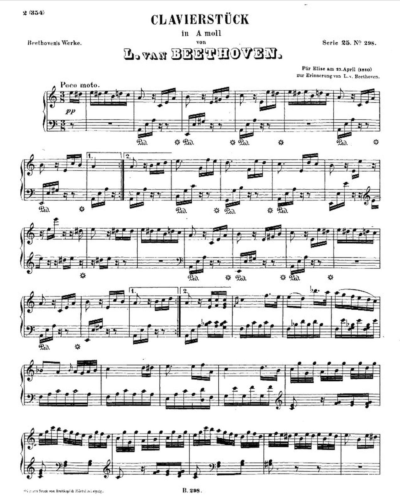 """Zdjęcie przedstawia graficzny utwór muzyczny. Fotografia ukazuje czarną pięciolinię znutami, na białej stronie utworu Ludwig van Beethoven – """"Klavierstück a-moll"""" WoO 59, bagatela """"Dla Elizy""""."""