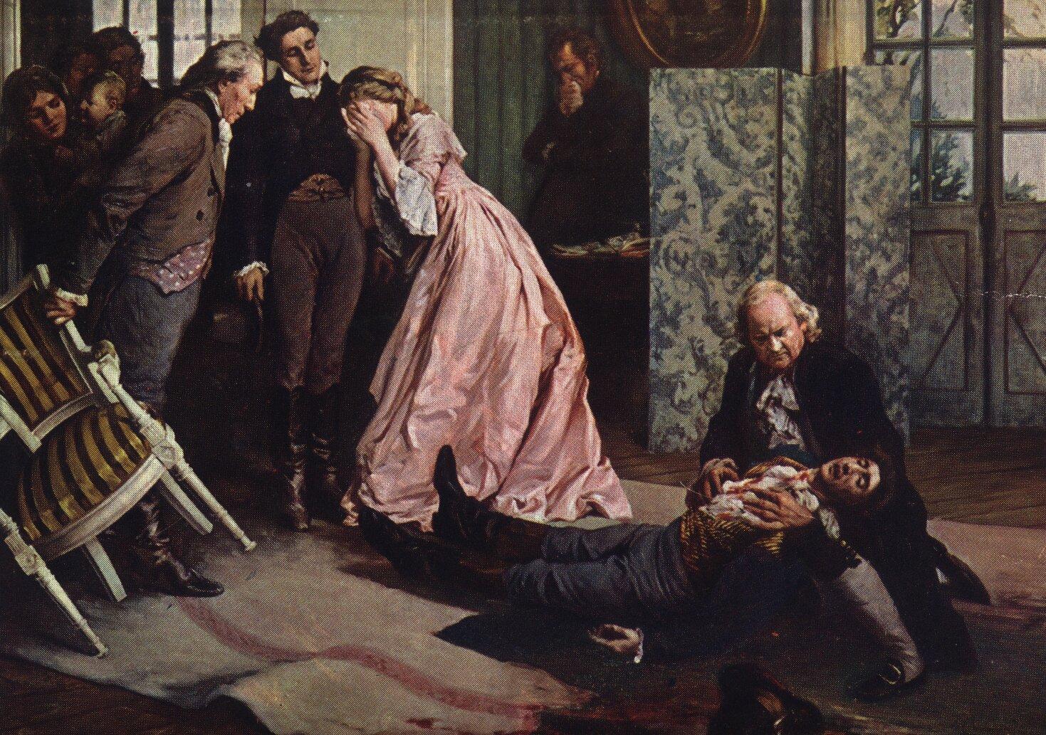Śmierć Wertera Źródło: François Charles Baude, Śmierć Wertera, 1911, domena publiczna.