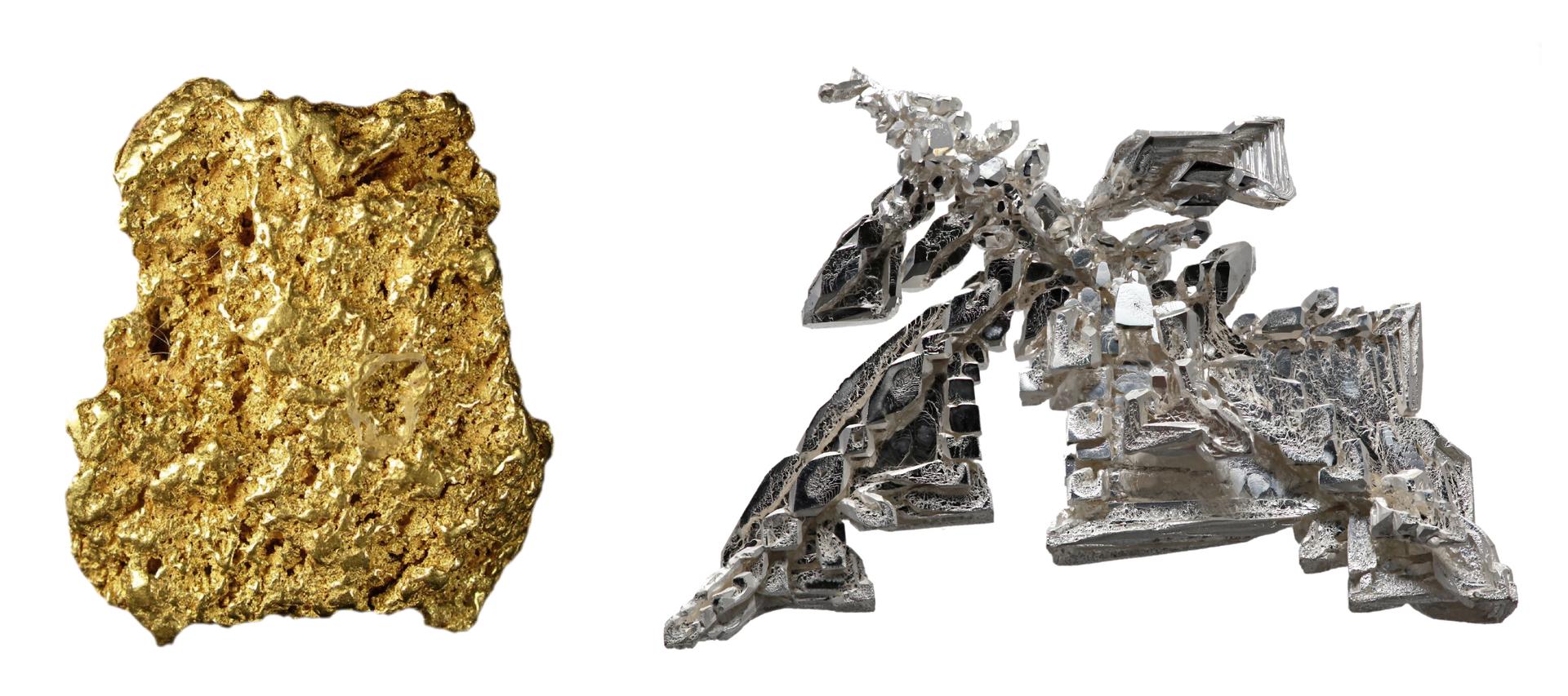 Zestawione ze sobą dwa zdjęcia metali wpostaci czystej. Lewe przedstawia złoty samorodek oprostym kształcie, natomiast prawe, srebro uzyskane wprocesie elektrolizy, którego fantazyjny kształt przywodzi na myśl skojarzenia ze smokiem.