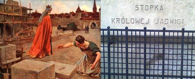 Zlewej strony obraz Jadwigi odciskającej stopę wkamieniu. Zprawej aktualna fotografia odcisku.