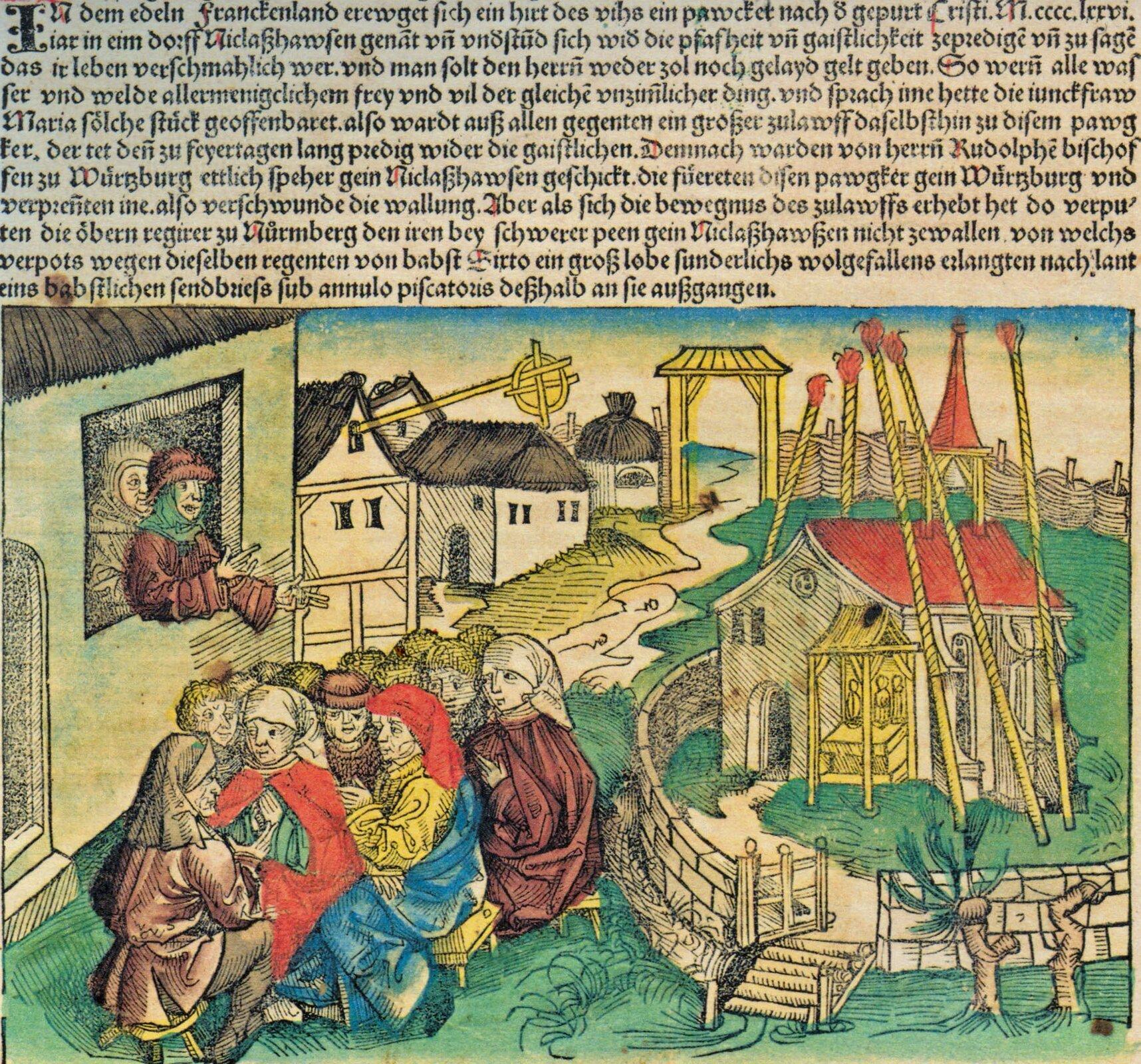 Kazanie wNiklashausen Źródło: Hartmann Schedel, Kazanie wNiklashausen, 1493, domena publiczna.