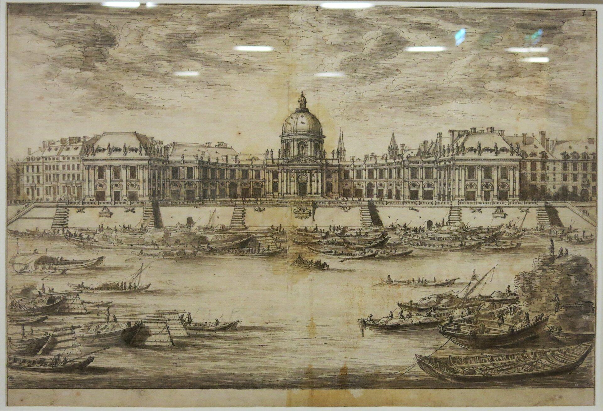 Rys. 1. Zdjęcie poglądowe przedstawia rycinę zwyobrażeniem barokowego budynku Collège Mazarin (Collège des Quatre Nations) wParyżu na lewym brzegu Sekwany. Na pierwszym planie widoczne są barki płynące po rzece. Na drugim planie - okazały budynek, wcentralnej części wejście zkolumnami ikopułą.