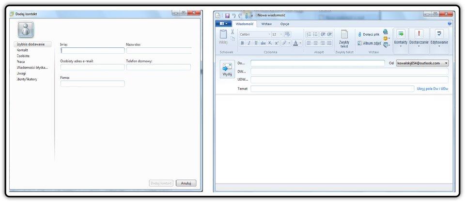Zrzut okien: Dodaj kontakt oraz Nowa wiadomość