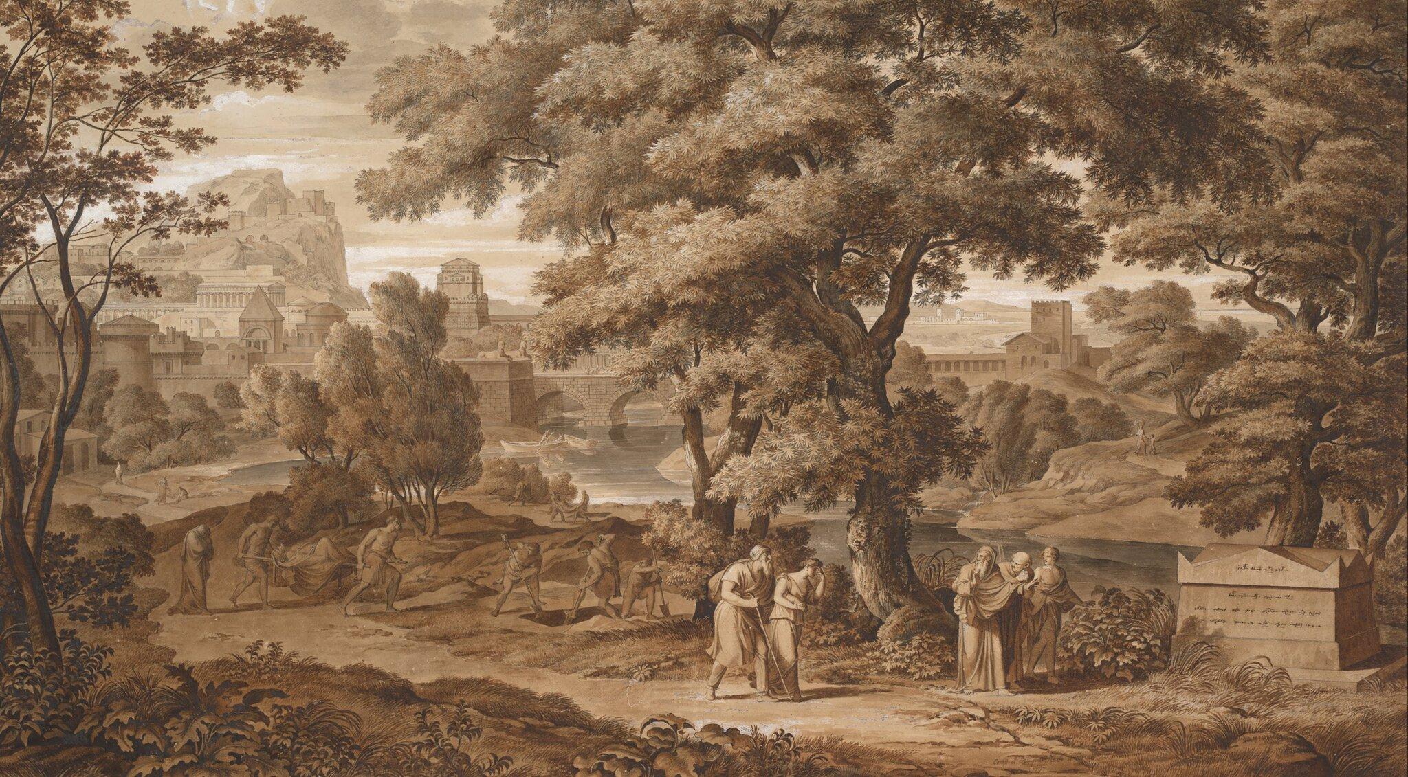 Edyp iAntygona opuszczają Teby Źródło: Joseph Anton Koch, Edyp iAntygona opuszczają Teby, 1797, domena publiczna.