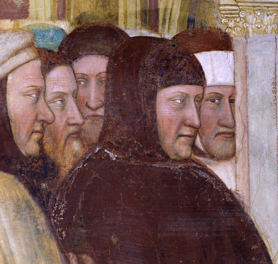 """Portret Francesco Petrarki Źródło: Altichiero, Portret Francesco Petrarki, ok. 1376, fresk, """"Oratorio di San Giorgio"""" wPadwie, domena publiczna."""