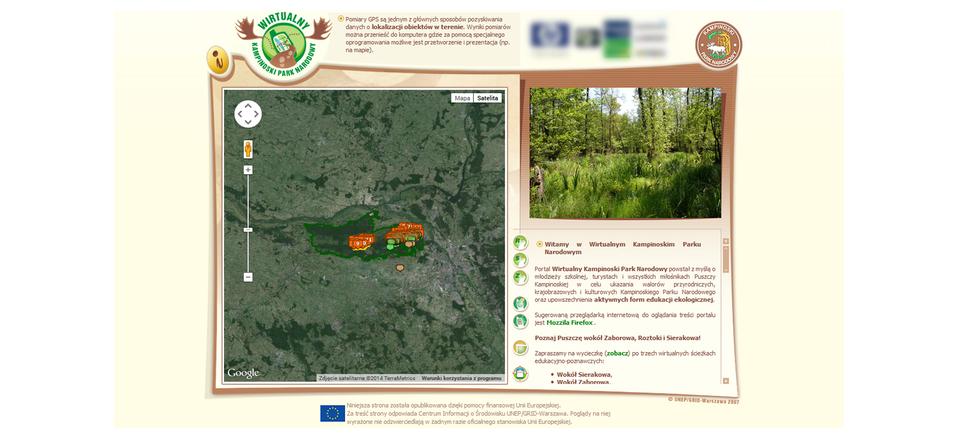 Ilustracja stanowi zrzut ekranu ze strony głównej Wirtualnego Kampinoskiego Parku Narodowego.