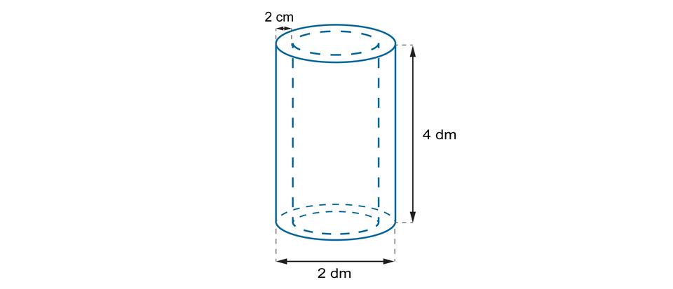 Rysunek rurki ogrubości ściany 2 cm, długości równej 4 dm iśrednicy podstawy 2 dm.