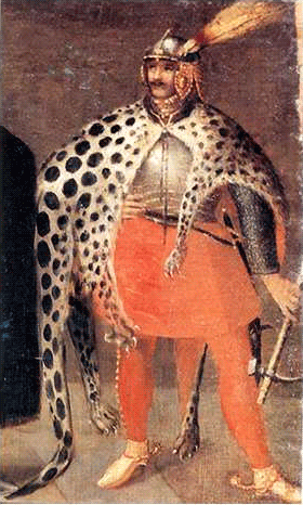 na obrazie widać postać mężczyzny wzbroi znarzuconą skóra dzikiego zwierzęcia.