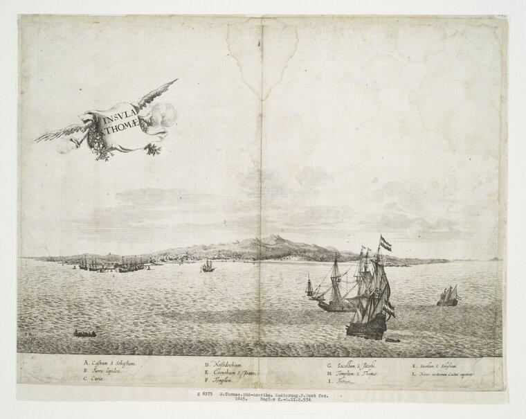 Rycina zXVII w. przedstawiająca wyspę Św. Tomasza Rycina zXVII w. przedstawiająca wyspę Św. Tomasza Źródło: Frans Jansz, 1645, domena publiczna.