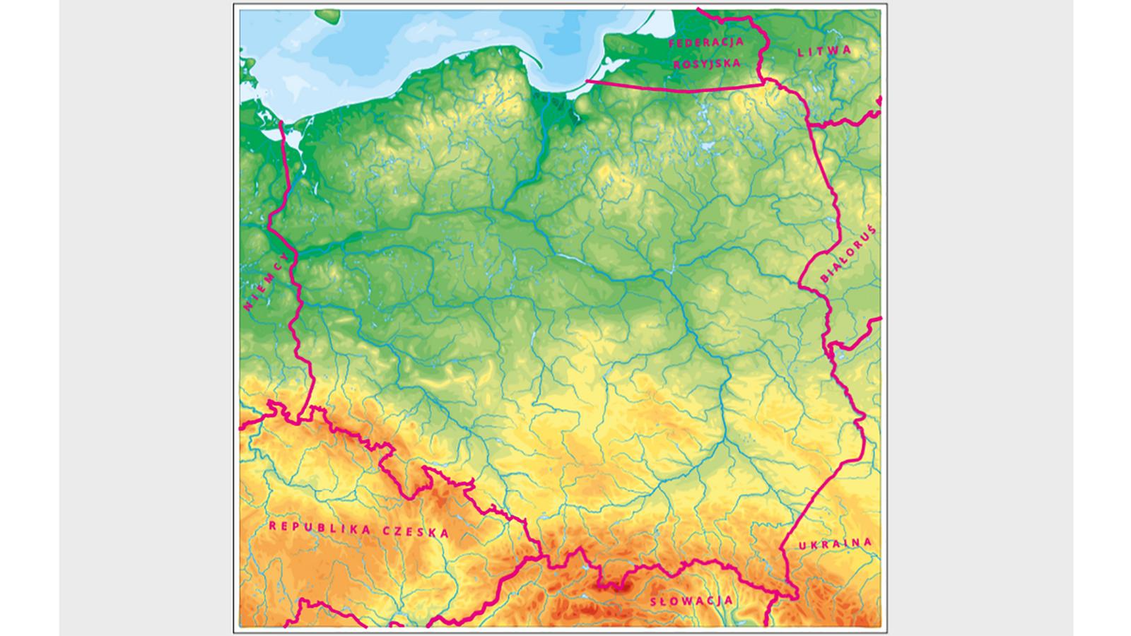 Aktywna mapa Polski zgranicami zaznaczonymi na czerwono oraz siedmioma państwami sąsiadującymi zPolską.
