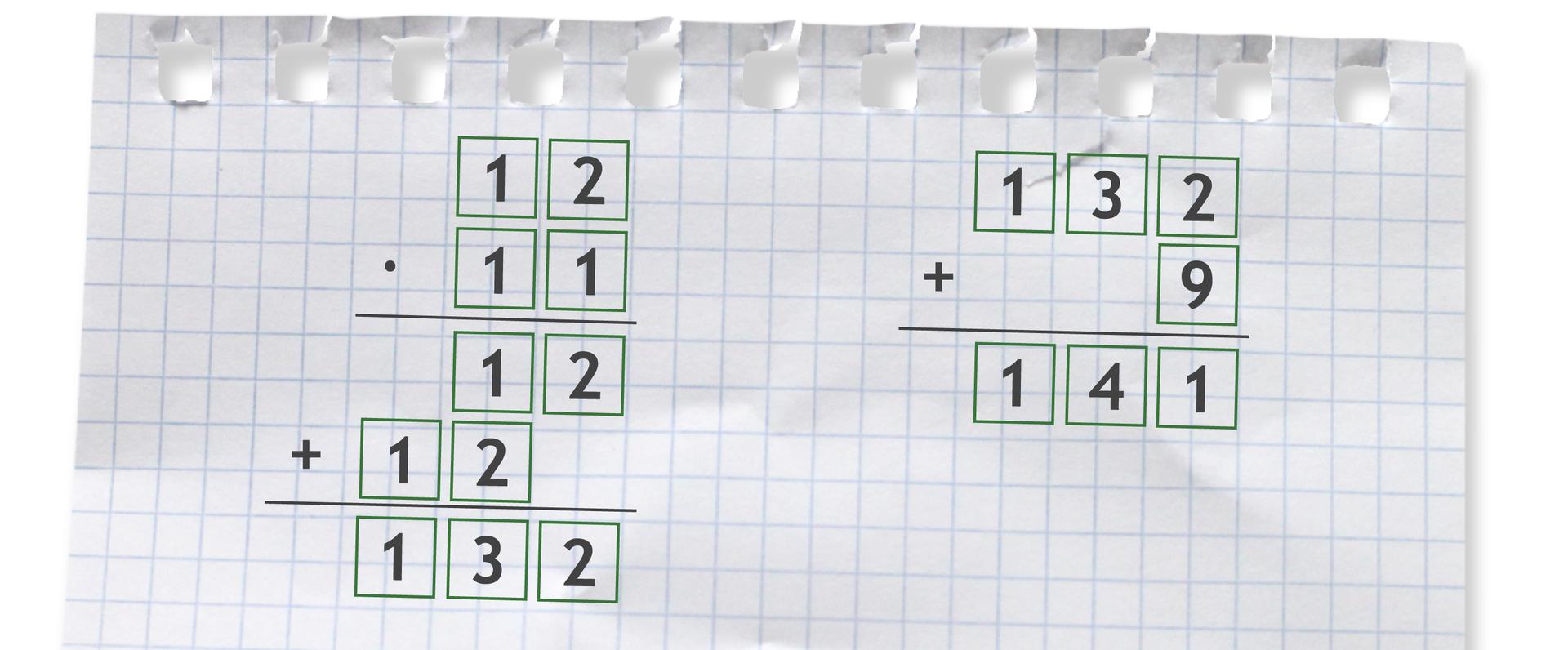 """""""Przykłady zapisane sposobem pisemnym: 12 razy 11 =132"""