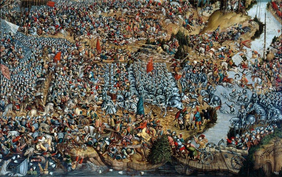 Bitwa pod Orszą Obraz Bitwa pod Orszą można traktowaćzarówno jak wysokiej klasyzabytek malarstwa tablicowego, jakijako realistycznydokumenthistorii wojskowości. Dziełozwraca uwagę epicką kompozycją, realistycznym odtworzeniem postaci, odtworzenieprzedmiotów, atakże ogromnąilością detali.Bitwa pod Orszą rozegrała się we wrześniu1514 roku, wczasie wojny litewsko-moskiewskiej, pomiędzy wojskami litewsko-polskimi pod dowództwem hetmana wielkiego litewskiego księcia Konstantego Ostrogskiego, awojskami moskiewskimi pod dowództwem Iwana Czeladnina. Bitwa trwała od ośmiu do dziesięciugodzin (kilka kolejny zajął pościg za niedobitkami) izakończyła się wielkim zwycięstwem oddziałów polsko-litewskich. Źródło: artysta nieznany, Bitwa pod Orszą, między 1525-1540, tempera na dębowej desce, Muzeum Narodowe wWarszawie, domena publiczna.