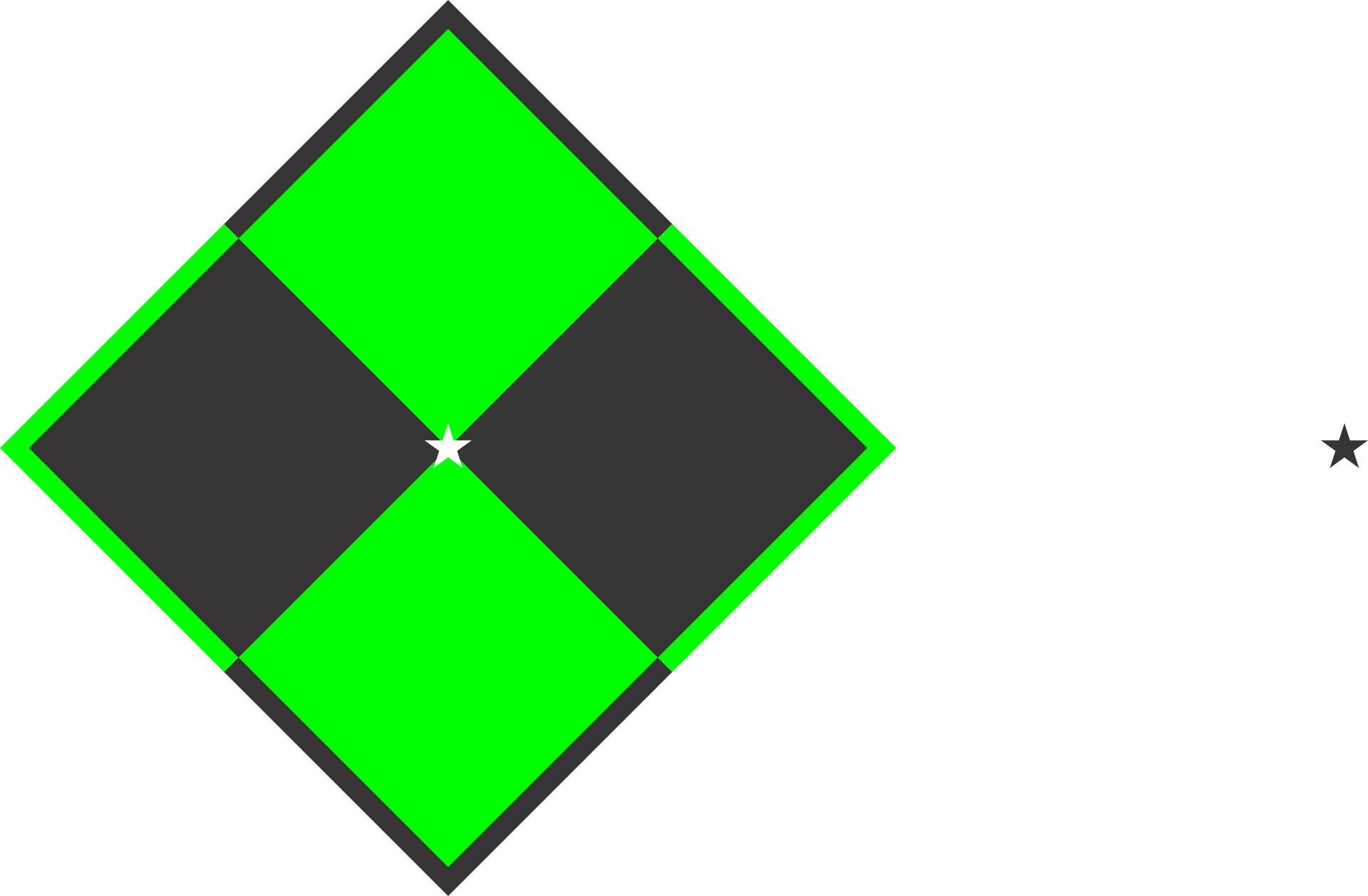 Ilustracja przedstawia szaro-zieloną szachownicę na białym tle. Wśrodku, gdzie kolorowe płaszczyzny łączą się ze sobą, widoczna jest biała gwiazdka. Zprawej strony fotografii znajduje się szara gwiazdka.