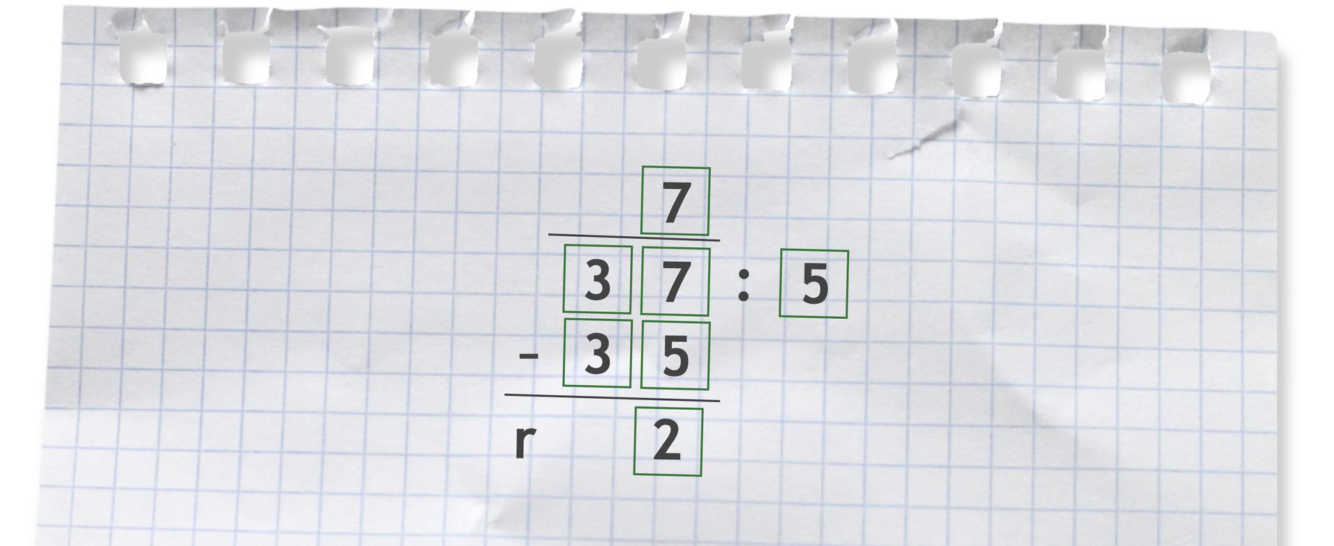 Przykład: 37 dzielone przez 5 = 7 r2.