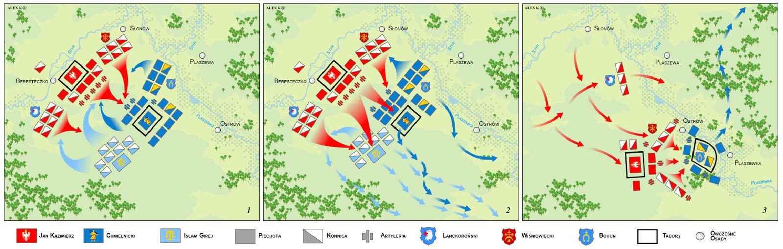 Plan bitwy pod Beresteczkiem w1651 r. – trzy fazy starcia Plan bitwy pod Beresteczkiem w1651 r. – trzy fazy starcia Źródło: Hoodinski, Wikimedia Commons, licencja: CC BY-SA 3.0.