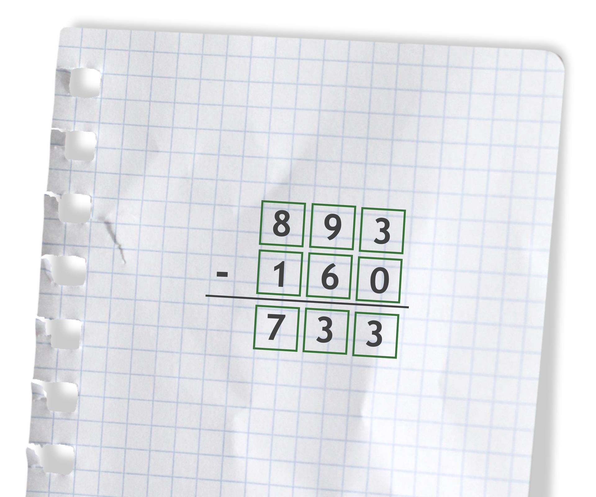 Przykład: 893 - 160 =733. Rozwiązanie zadania podpunkt d.