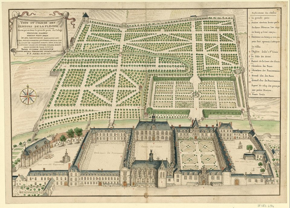 Widok na jezuickie kolegium La Flèche Źródło: Louis Boudan, Widok na jezuickie kolegium La Flèche, 1695, Gallica Digital Library, domena publiczna.