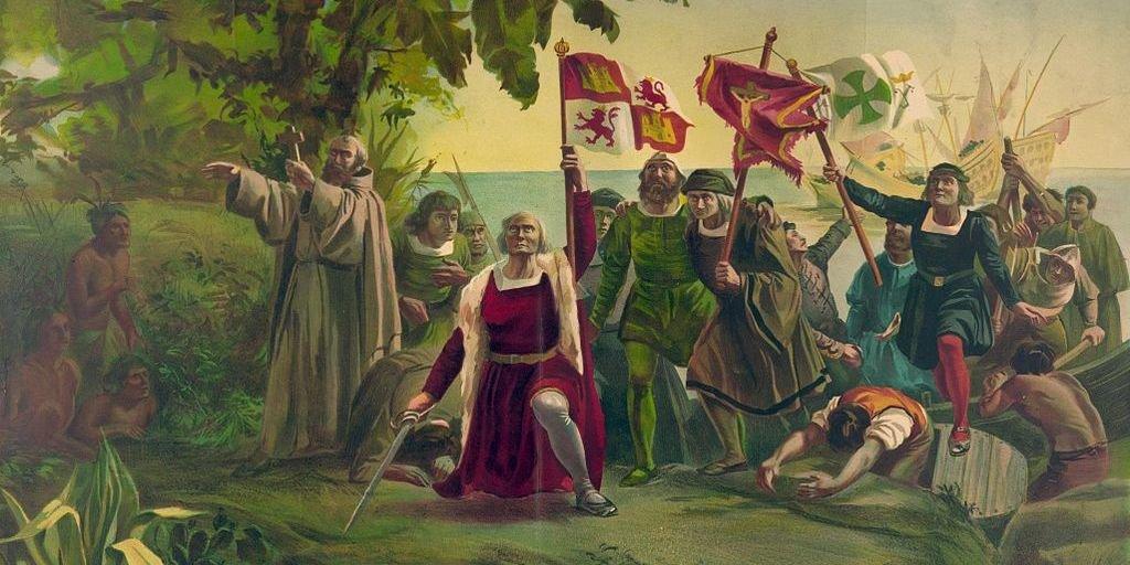 Pierwsze lądowanie Kolumba na brzegu Nowego Świata wSan Salvador Źródło: Dióscoro Teófilo Puebla Tolín, Pierwsze lądowanie Kolumba na brzegu Nowego Świata wSan Salvador, 1862, domena publiczna.