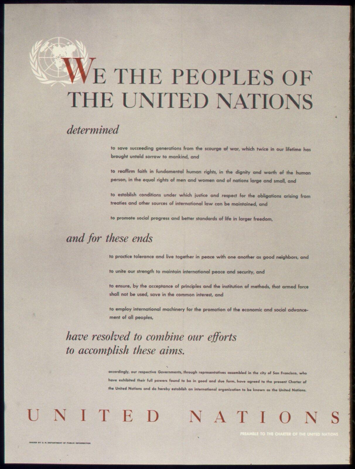 Wstęp do Karty Narodów Zjednoczonych Źródło: U.S. National Archives and Records Administration, Wstęp do Karty Narodów Zjednoczonych, licencja: CC 0.