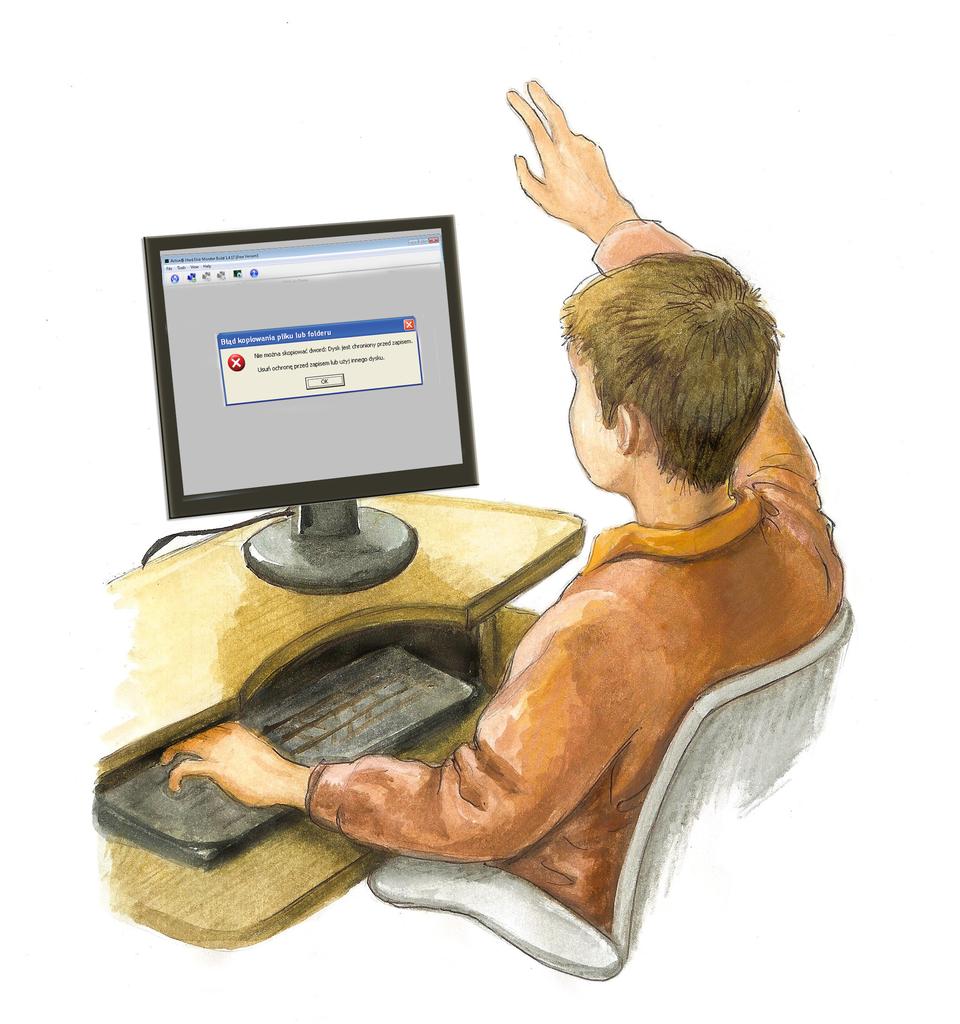 Ilustracja przedstawiająca ucznia zgłaszającego awarię komputera