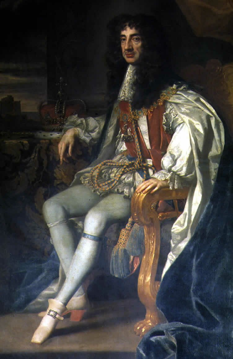 Karol II Stuart, król Anglii Źródło: Peter Lely, Karol II Stuart, król Anglii, około 1675, Olej na płótnie, Euston Hall, Suffolk & Belton House, Lincolnshire, domena publiczna.