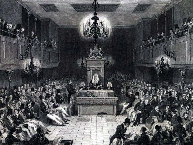 Debata oxfordzka wparlamencie brytyjskim w1834 roku Debata oxfordzka wparlamencie brytyjskim w1834 roku Źródło: domena publiczna.
