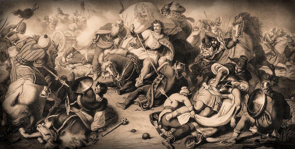 Bitwa pod Mohaczem Litografia, będąca kopią wcześniejszegoobrazu olejnegoMor Thana, przedstawia tragiczną dla Węgier bitwę pod Mohaczem w1526 roku. Druzgocące zwycięstwo odniosły wniej wojska Sulejmana Wspaniałego. Źródło: Rezső Grimm, Bitwa pod Mohaczem, 1857 r., litografia, Węgierskie Muzeum Narodowe, domena publiczna.