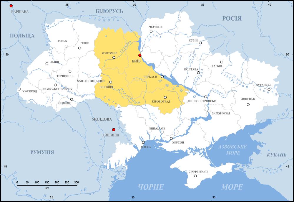 Ukraina prawobrzeżna Ukraina Prawobrzeżna -część Ukrainypołożona na zachodnim brzegu Dniepru.Po rozejmie andruszowskim (1667 r.) Prawobrzeże pozostało przy Rzeczypospolitej. Źródło: Ukraina prawobrzeżna, licencja: CC BY-SA 1.0.
