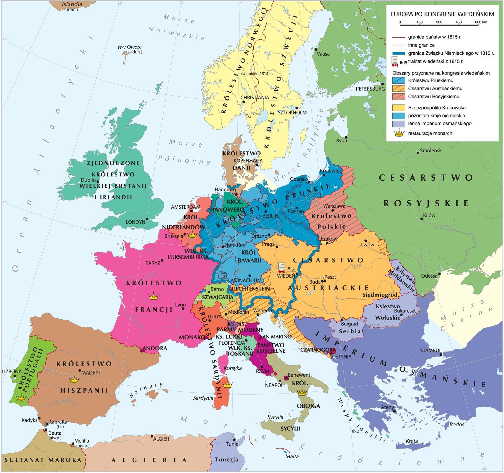 Europa po kongresie wiedeńskim Źródło: Krystian Chariza izespół, Europa po kongresie wiedeńskim, licencja: CC BY-SA 3.0.