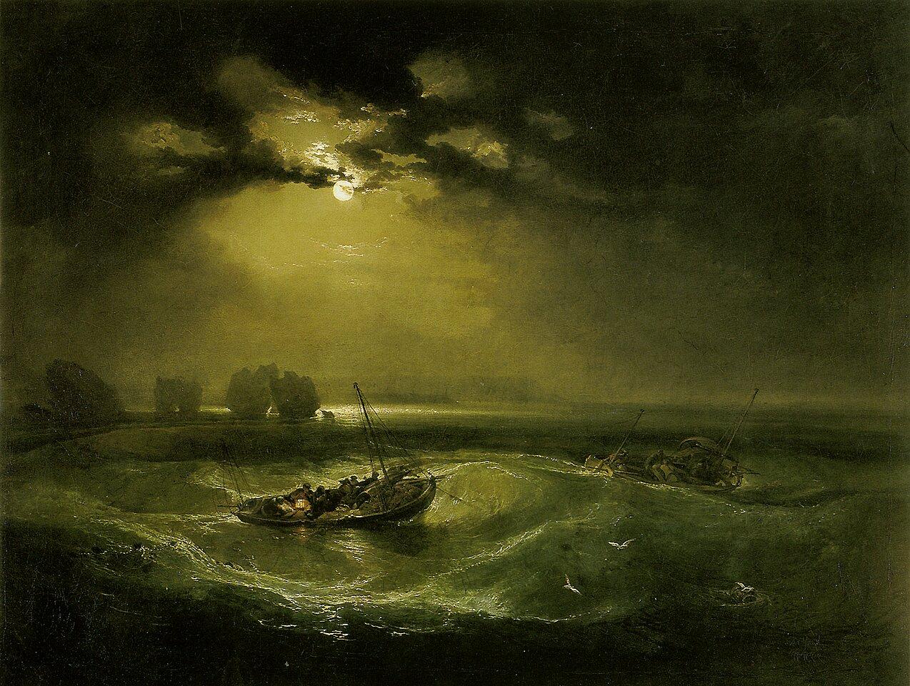Rybacy na morzu Źródło: Joseph Mallord William Turner, Rybacy na morzu, 1796, olej na płótnie, Muzeum Sztuki Brytyjskiej, domena publiczna.