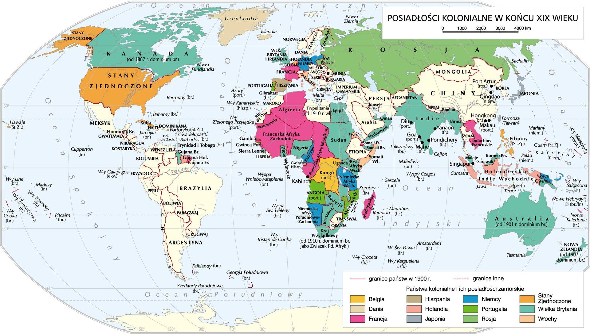 Świat kolonialny pod koniec XIX w. Świat kolonialny pod koniec XIX w. Źródło: Krystian Chariza izespół, licencja: CC BY 4.0.