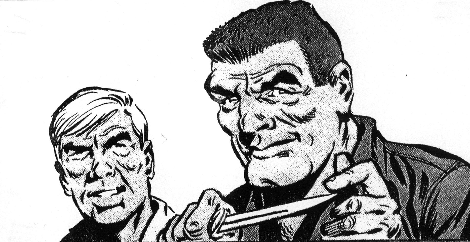 """Ilustracja przedstawia ilustrację zkomiksu Jerzego Wróblewskiego """"Skradziony Skarb"""". Na ilustracji widoczni są dwaj mężczyźni. Jeden zmężczyzn ma nóż zostrym zakończeniem."""