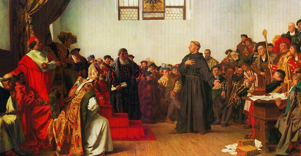 Luter na sejmie wWormacji IV 1521 Źródło: Anton von Werner, Luter na sejmie wWormacji IV 1521, 1877, Staatsgalerie Stuttgart, domena publiczna.