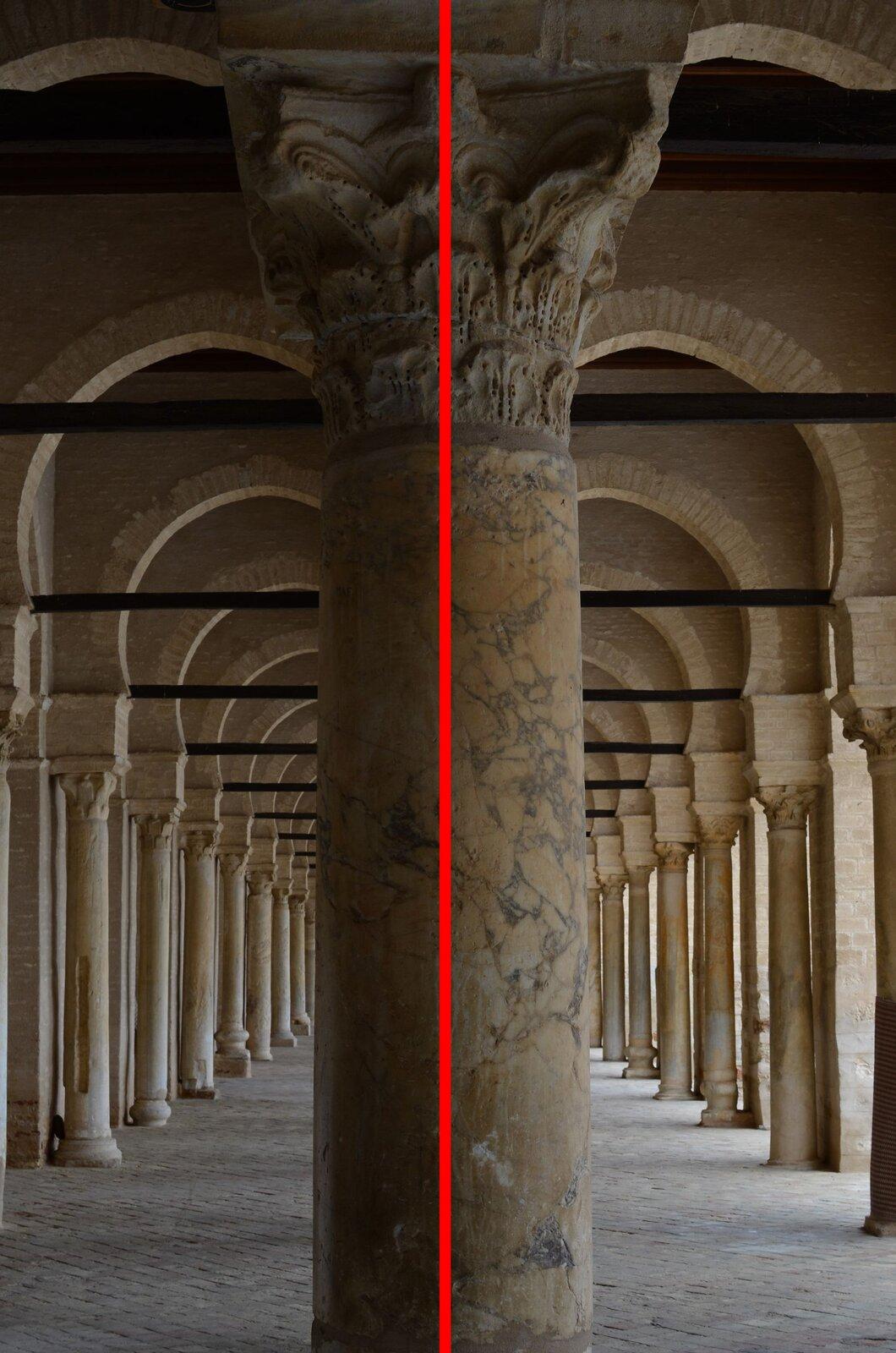 Zdjęcie kolumny wewnątrz budowli zpoprowadzoną osią symetrii.