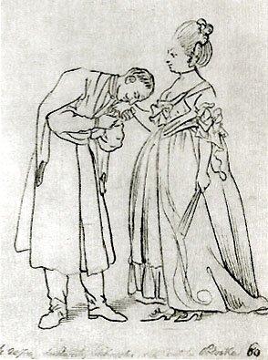 Starosta Ledóchowski całuje dłoń hrabiny Podoskiej Źródło: Daniel Chodowiecki, Starosta Ledóchowski całuje dłoń hrabiny Podoskiej, 1773, domena publiczna.