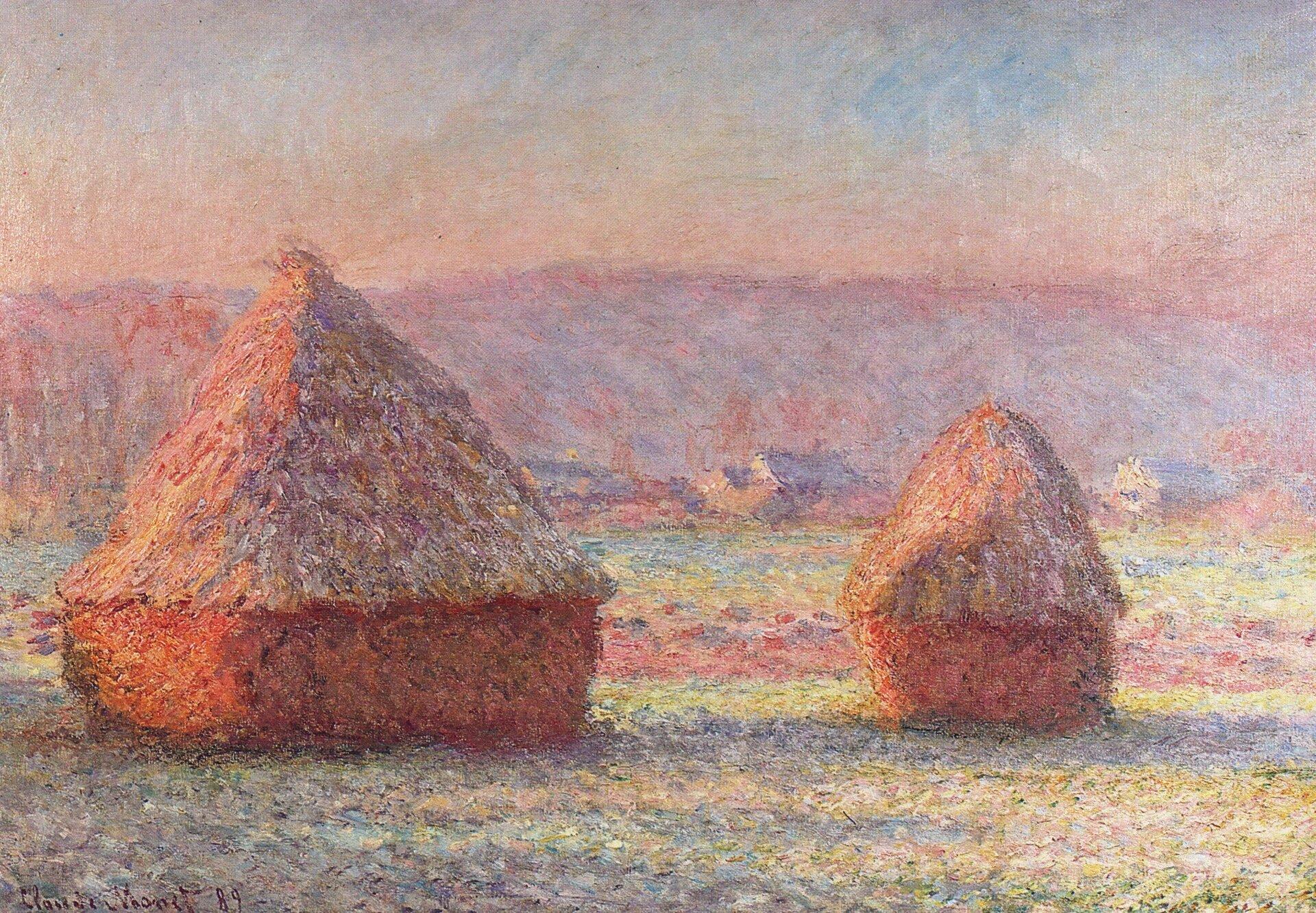 """Ilustracja przedstawia obraz Claude'a Moneta pt. """"Biały mróz, wschód słońca"""". Na obrazie widoczne są stogi siana owschodzie słońca, wśrodku mroźnej zimy. Monet podkreślił zimny kontrast między białą zimą, aczerwonymi snopkami."""