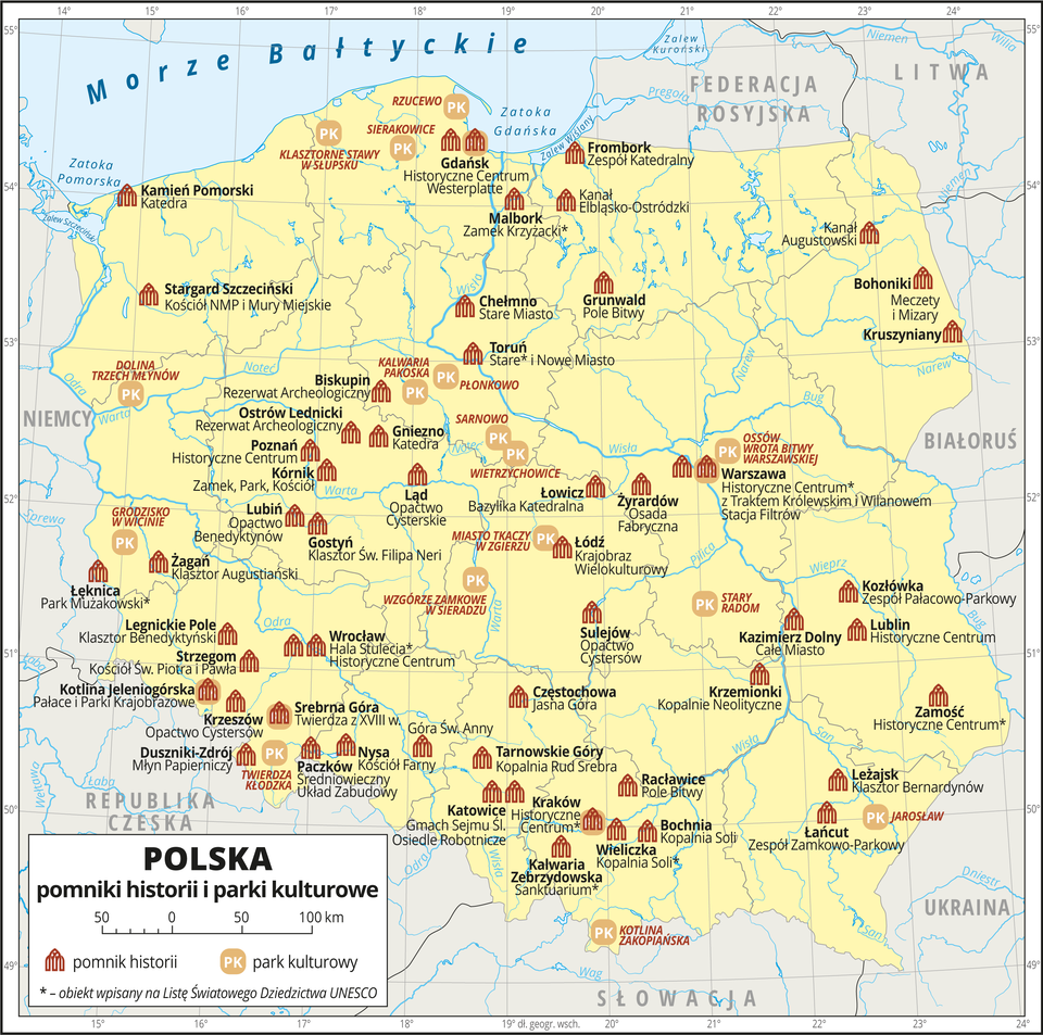Na przedstawionej mapie Polski obszar kraju zaznaczono kolorem żółtym. Granice Polski igranice województw oznaczono szarymi liniami. Opisano państwa sąsiadujące. Na mapie za pomocą czerwonej sygnatury budynku przedstawiono pomniki historii wPolsce, aza pomocą sygnatury składającej się zliter PK na beżowym polu przedstawiono parki kulturowe. Na obszarze Polski znajduje się wiele pomników historii, od południa do środkowej części Polski rozmieszczone są równomiernie, mniej występuje ich wrejonie pojezierzy: Pomorskiego iMazurskiego. Pomniki historii opisane są wkolorze czarnym nazwą miejscowości, wktórej się znajdują inazwą własną – na przykład: Malbork – Zamek Krzyżacki, Wieliczka – Kopalnia Soli. Obiekty wpisane na Listę Światowego Dziedzictwa UNESCO oznaczono gwiazdką. Parków kultury jest mniej, sygnatury najgęściej występują wcentrum Polski, na przykład: Miasto Tkaczy wZgierzu, Wzgórze Zamkowe wSieradzu. Nazwy parków kultury opisano kolorem czerwonym. Mapa zawiera południki irównoleżniki, dookoła mapy wbiałej ramce opisano współrzędne geograficzne co jeden stopień. Wlegendzie umieszczonej wdolnym lewym rogu ramki objaśniono znaki użyte na mapie.