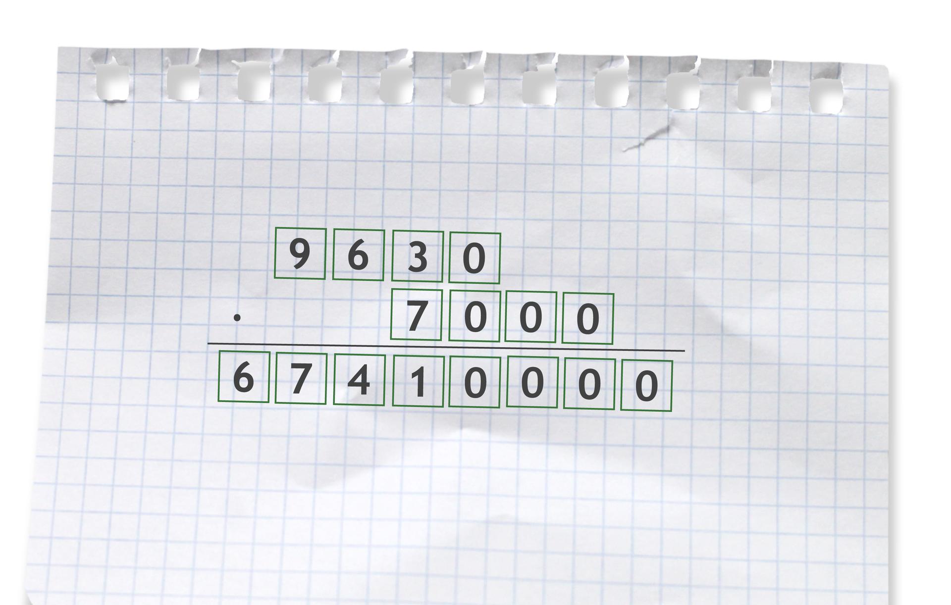 Przykład: 9630 razy 7000 =67410000. Rozwiązanie zadania podpunkt e.