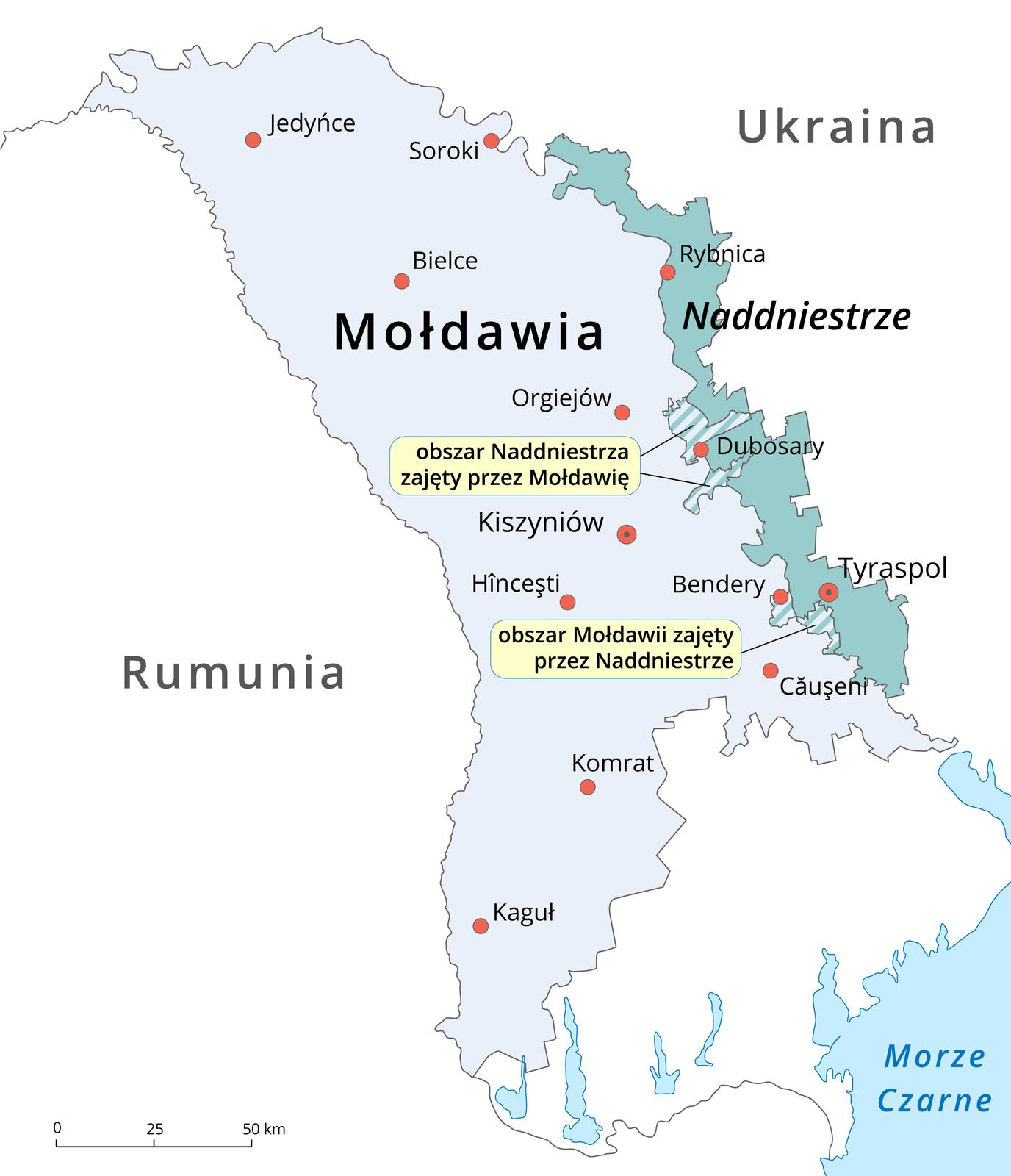 Na ilustracji mapa polityczna. Mołdawia oznaczona kolorem niebieskim, od wschodu graniczące znią Naddniestrze oznaczone kolorem turkusowym. Na granicy Mołdawii iNaddniestrza dwa obszary kreskowane. Wyżej obszar Naddniestrza zajęty przez Mołdawię, niżej obszar Mołdawii zajęty przez Naddniestrze. Od zachodu Mołdawii – Rumunia, od wschodu Naddniestrza – Ukraina.