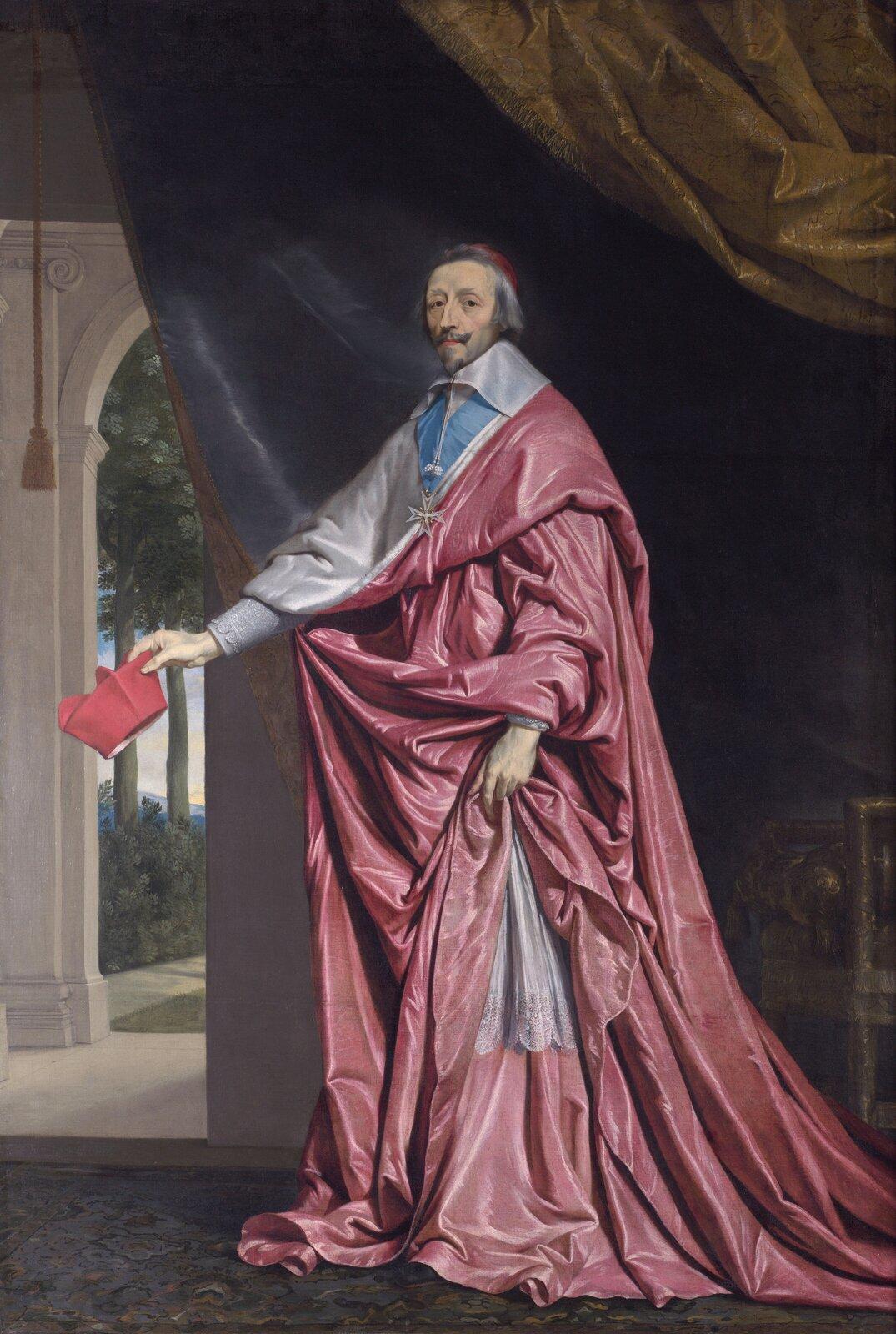 Portret kardynała de Richelieu Obraznamalowany przez Philippe de Champaigne (1602-1674). Ten sam autor namalował portret koronacyjny króla Ludwika XIII prezentowany powyżej.Obraz przechowywany jest obecnie wGalerii Narodowej wLondynie. Źródło: Philippe de Champaigne, Portret kardynała de Richelieu, 1633-1640, olej na płótnie, Galeria Narodowa wLondynie, domena publiczna.