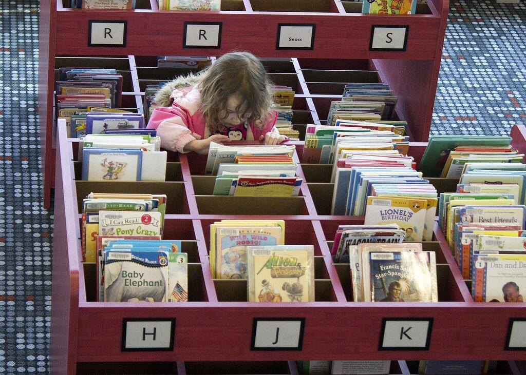 Ilustracja przedstawia zdjęcie, na którym widoczna jest dziewczynka wróżowym ubraniu przeglądająca skrzynki zksiążkami. Akcja dzieje się prawdopodobnie wbibliotece.