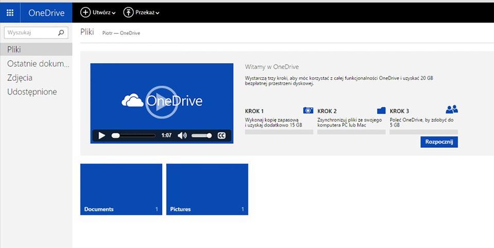Strona powitalna zasobów chmury OneDrive