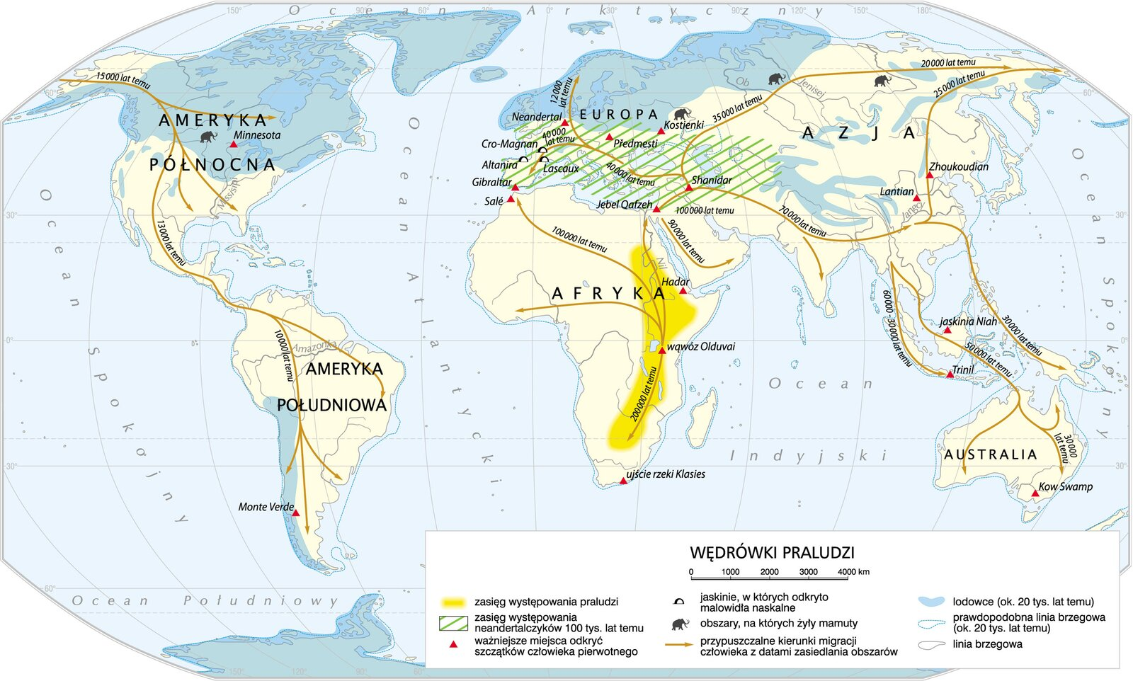 Mapa świata pokazująca jakimi drogami migrowali ludzie zpołudnia Afryki na inne kontynenty