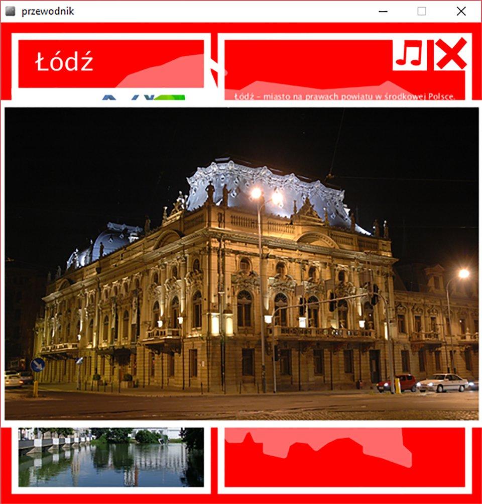 Ilustracja sposobu prezentacji fotografii na przykładzie zdjęcia Pałacu Poznańskiego wŁodzi - podświetlona zabytkowa elewacja wporze nocnej