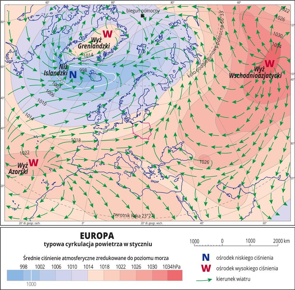 Ilustracja przedstawia mapę Europy iobrazuje typową cyrkulację powietrza styczniu. Na mapie kolorami zaznaczono wartości ciśnienia atmosferycznego zredukowane do poziomu morza. Odcienie koloru pomarańczowego oznaczają obszary owysokim ciśnieniu (przeważają na mapie), odcienie koloru niebieskiego oznaczają obszary oniskim ciśnieniu. Czerwonymi literami Wopisano ośrodki wysokiego ciśnienia (Wyż Grenlandzki, Wyż Azorski, Wyż Wschodnioazjatycki), niebieską literą Nopisano jedyny ośrodek niskiego ciśnienia (Niż Islandzki). Zielonymi strzałkami oznaczono kierunki wiatru (od wyżów do niżu). Na mapie opisano izobary co cztery hektopaskale. Najniższa wartość wynosi dziewięćset dziewięćdziesiąt osiem hektopaskali, najwyższa wartość wynosi tysiąc trzydzieści cztery hektopaskale. Mapa pokryta jest równoleżnikami ipołudnikami. Dookoła mapy wbiałej ramce opisano współrzędne geograficzne co dwadzieścia stopni. Na dole mapy wlegendzie opisano kolory iznaki użyte na mapie.