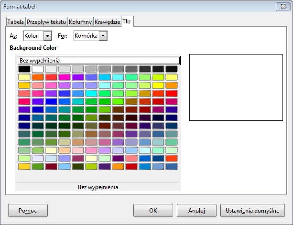 Zrzut okna: Format tabeli zwybraną zakładką: Tło wprogramie LibreOffice Writer