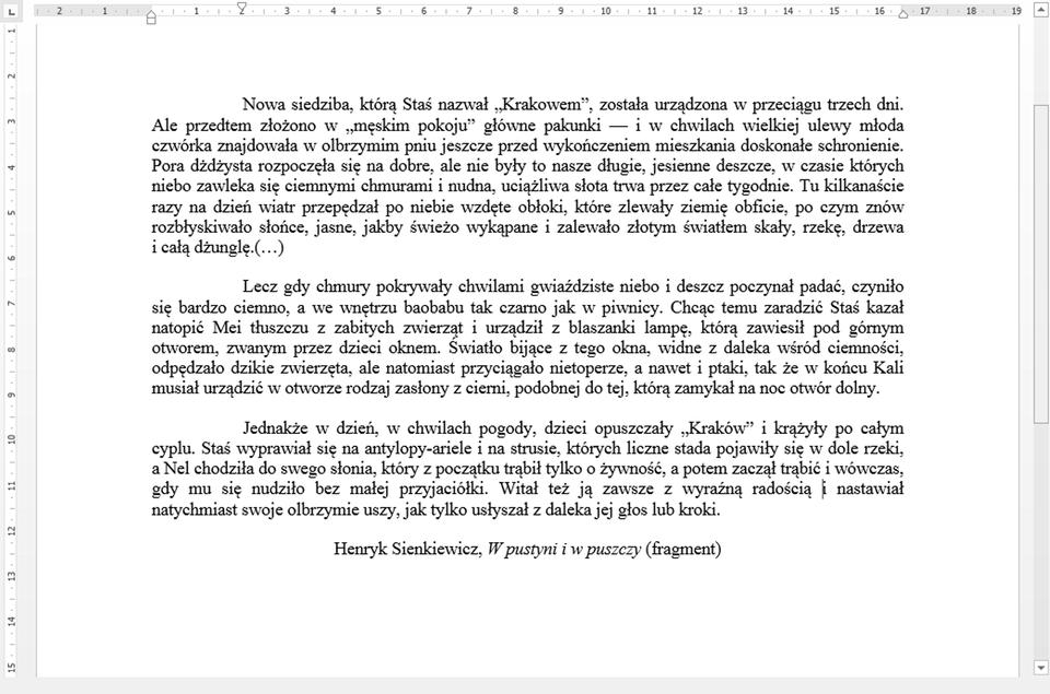 Zrzut dokumentu tekstowego zprzykładowym rozwiązaniem